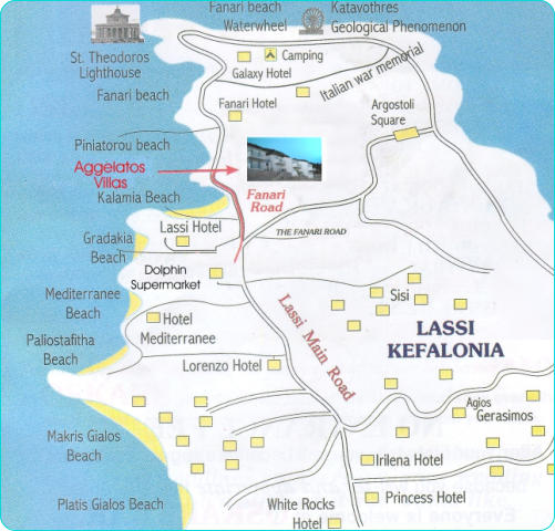 Aggelatos Villas Lassi Kefalonia map English version